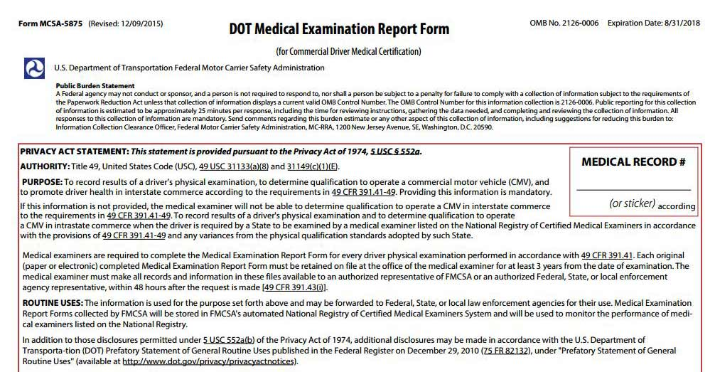 Cdl Drivers Dot Physical Exam Form  Pdf  Medical Card