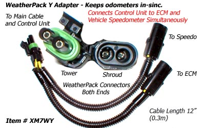 SafetyPass Pro XM7WY Weatherpack Y Adapter Cable For Trucks With 2 Speed Sensors.